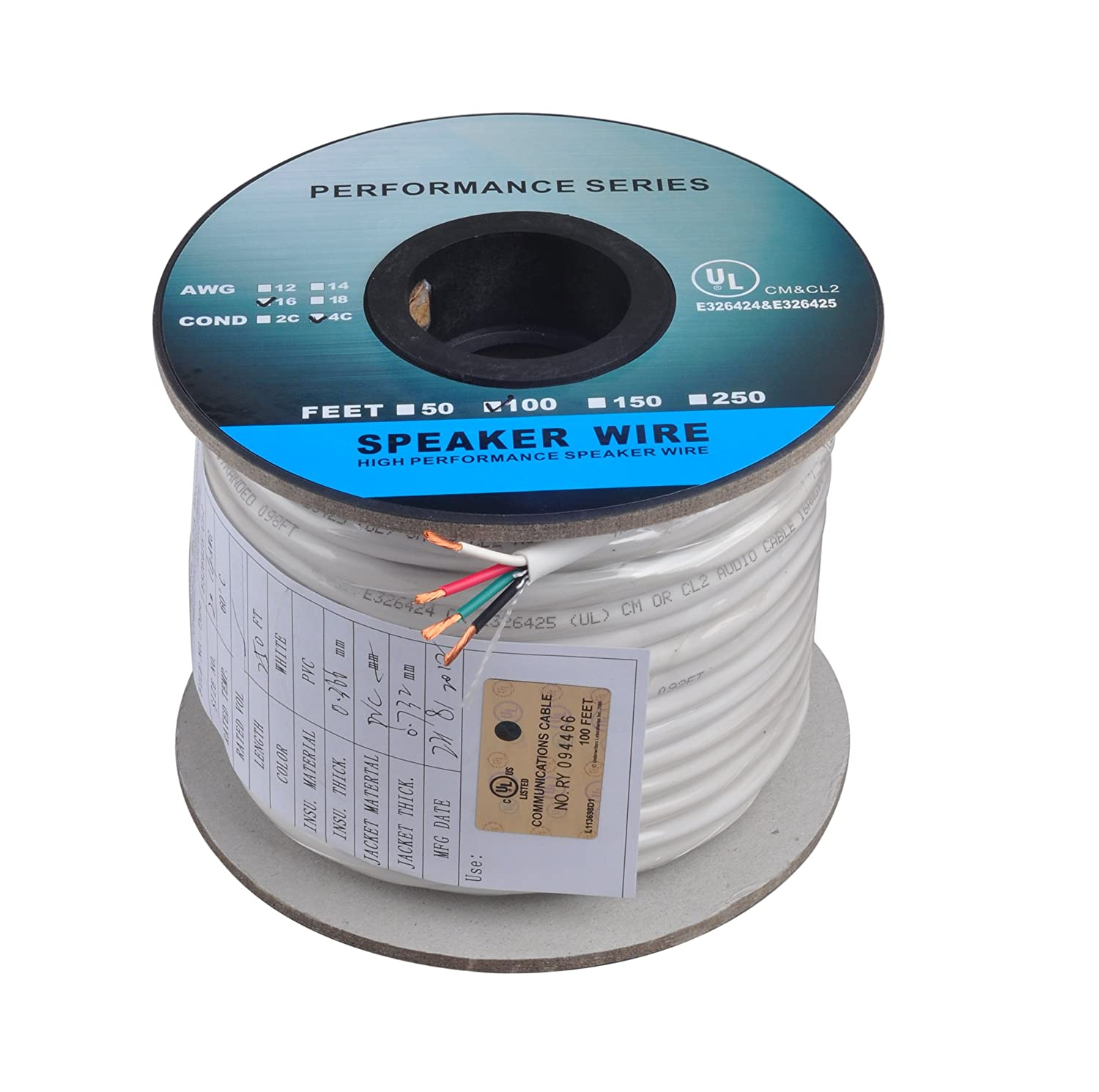 Ce 100 Feet 16awg Cl2 Rated 4 Conductor Loud Speaker Home Audio System Wiring Cable For In Wall Installation Theater