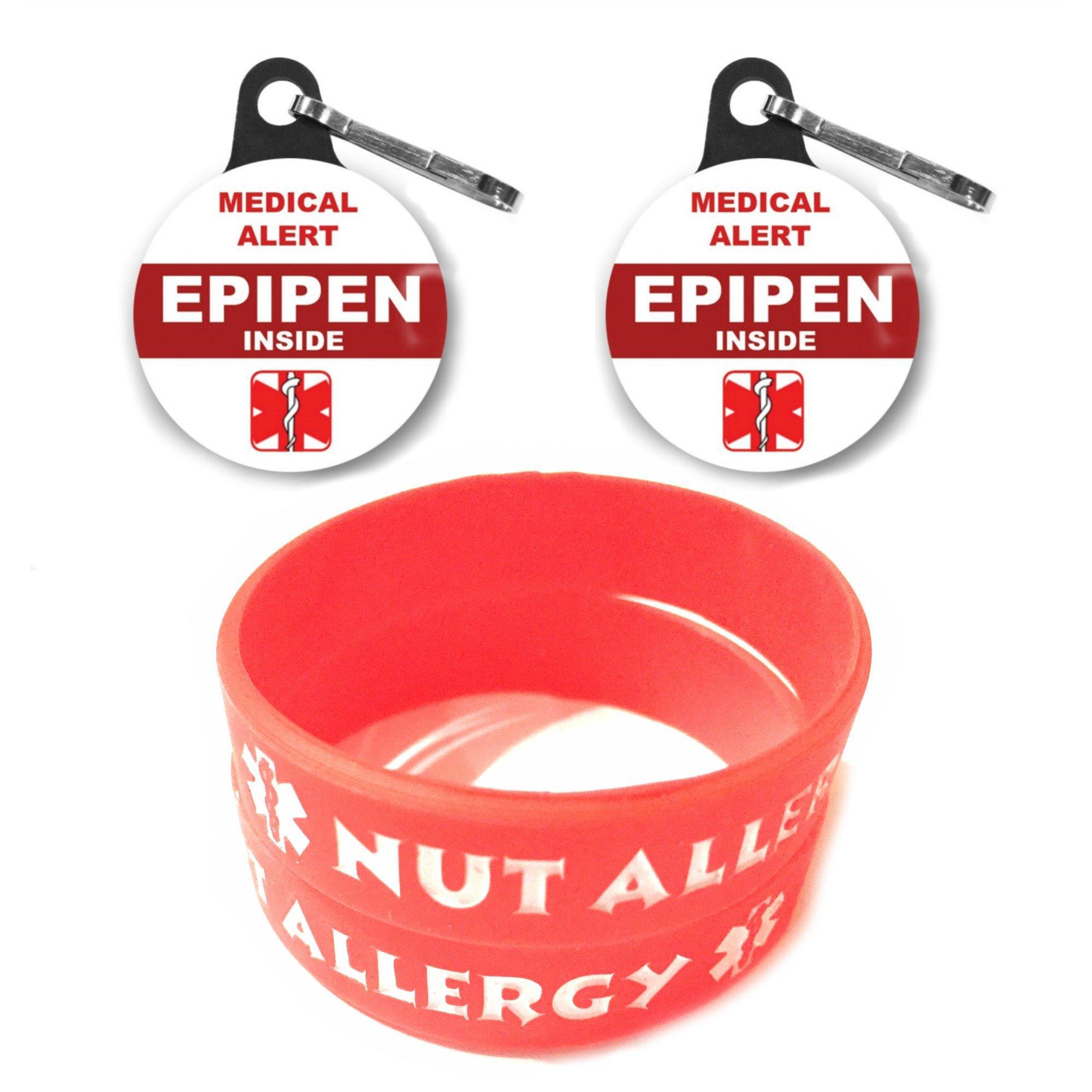 Medical Alert Epipen Inside Tag 2ct/Nut Allergy Bracelets for Kids 2ct Toddler Size