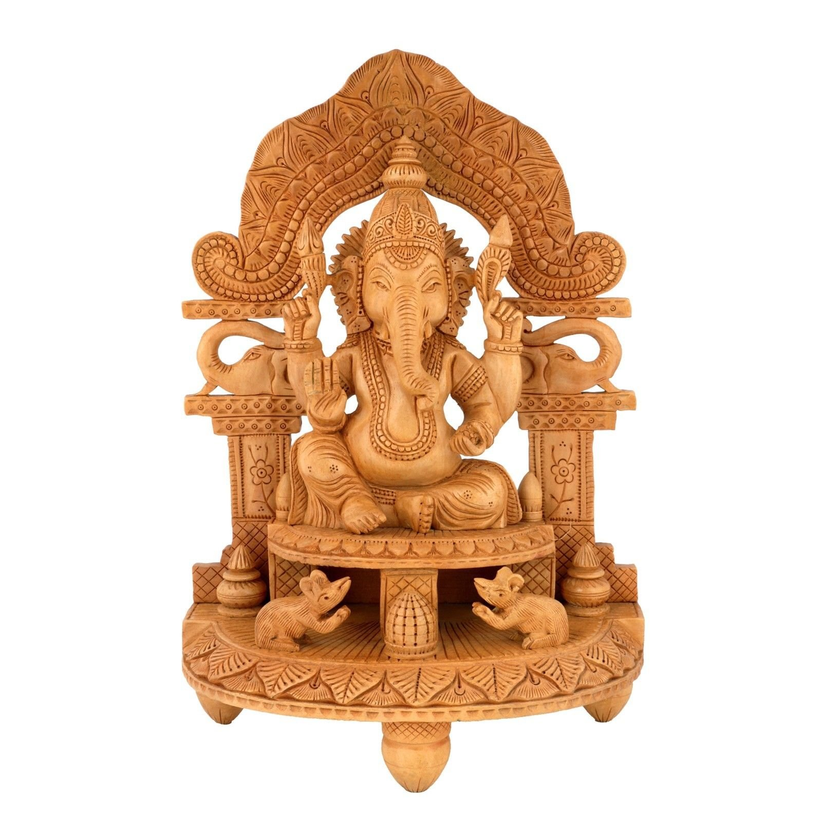 CraftVatika 13'' Tall Wooden Ganesha Ganesh Handmade Sitting on Mouse India Gift