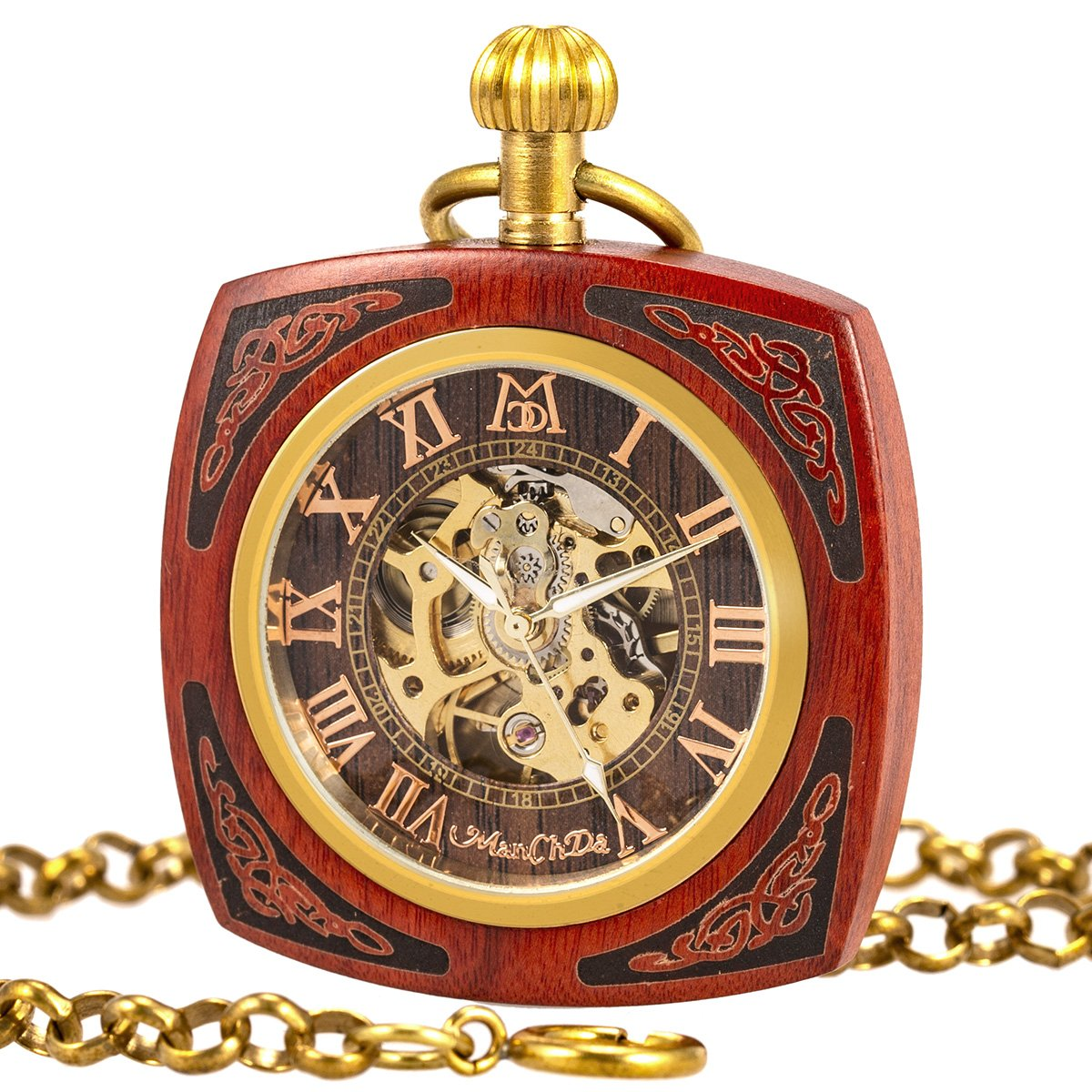 ManChDa Roman Copper Wooden Steampunk Mechanical Skeleton Pocket Watch With Chain Gift Box (4.Square Shape Roman Copper Red Wooden)