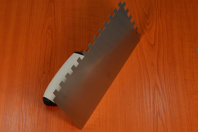 Edelstahl Zahnkelle Kelle Zahnspachtel 6x6mm TPU Softgriff DECOREX HD