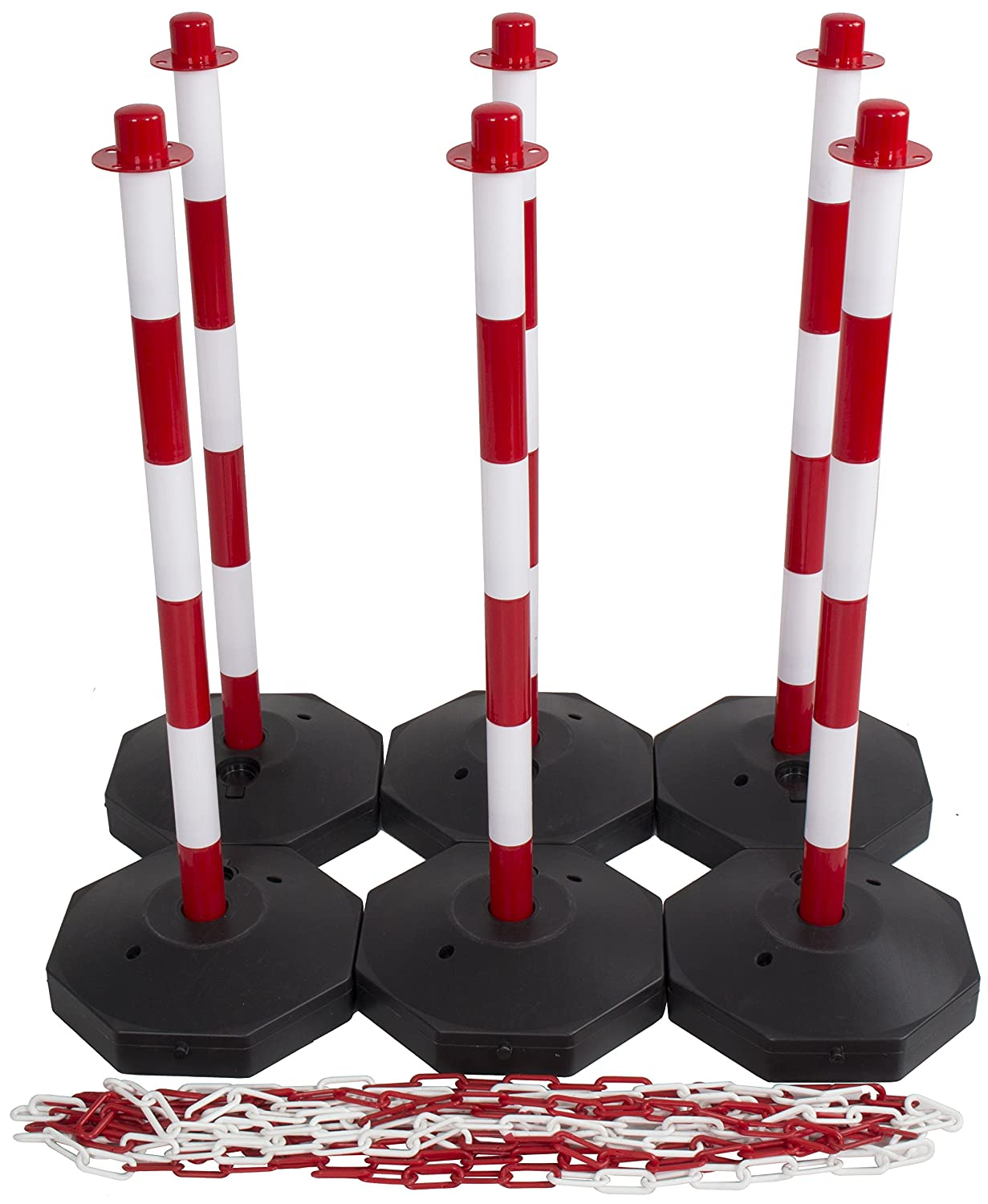 Red /& White Safety Barrier Security Fence Post Base Set /& 15mtr Plastic Chain