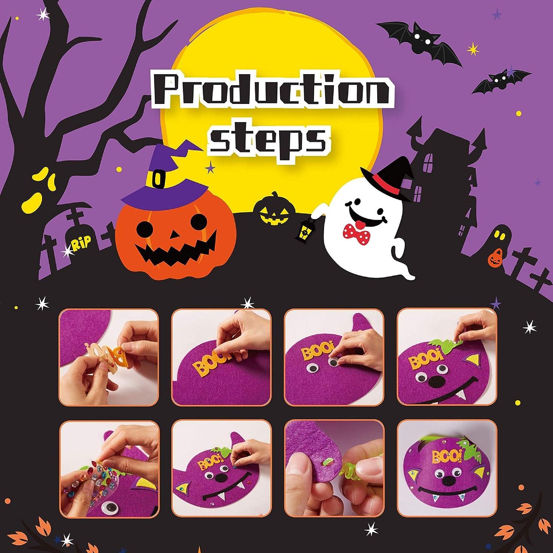 Halloween pumpkin Decorations Include Pumpkins Face Stickers Rewarding gifts for kids HOOJO 15 Pcs Halloween Pumpkin Foam DIY Craft Kit 140 Diamond stickers with 5 Designs