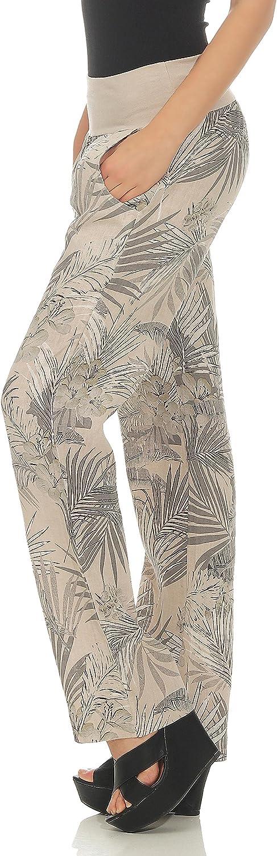 Malito Mujer Pantal/ón Lino Jungle Print Pantalones Ocio Chino 7790