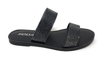 899f3e58e SODA JDAmong Shoes Women Flip Flops Sandals Bling Rhinestone Crystal Slides  Footbed Sylvia (5.5 M