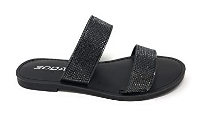 1a636bbb4f71 SODA JDAmong Shoes Women Flip Flops Sandals Bling Rhinestone Crystal Slides  Footbed Sylvia (5.5 M