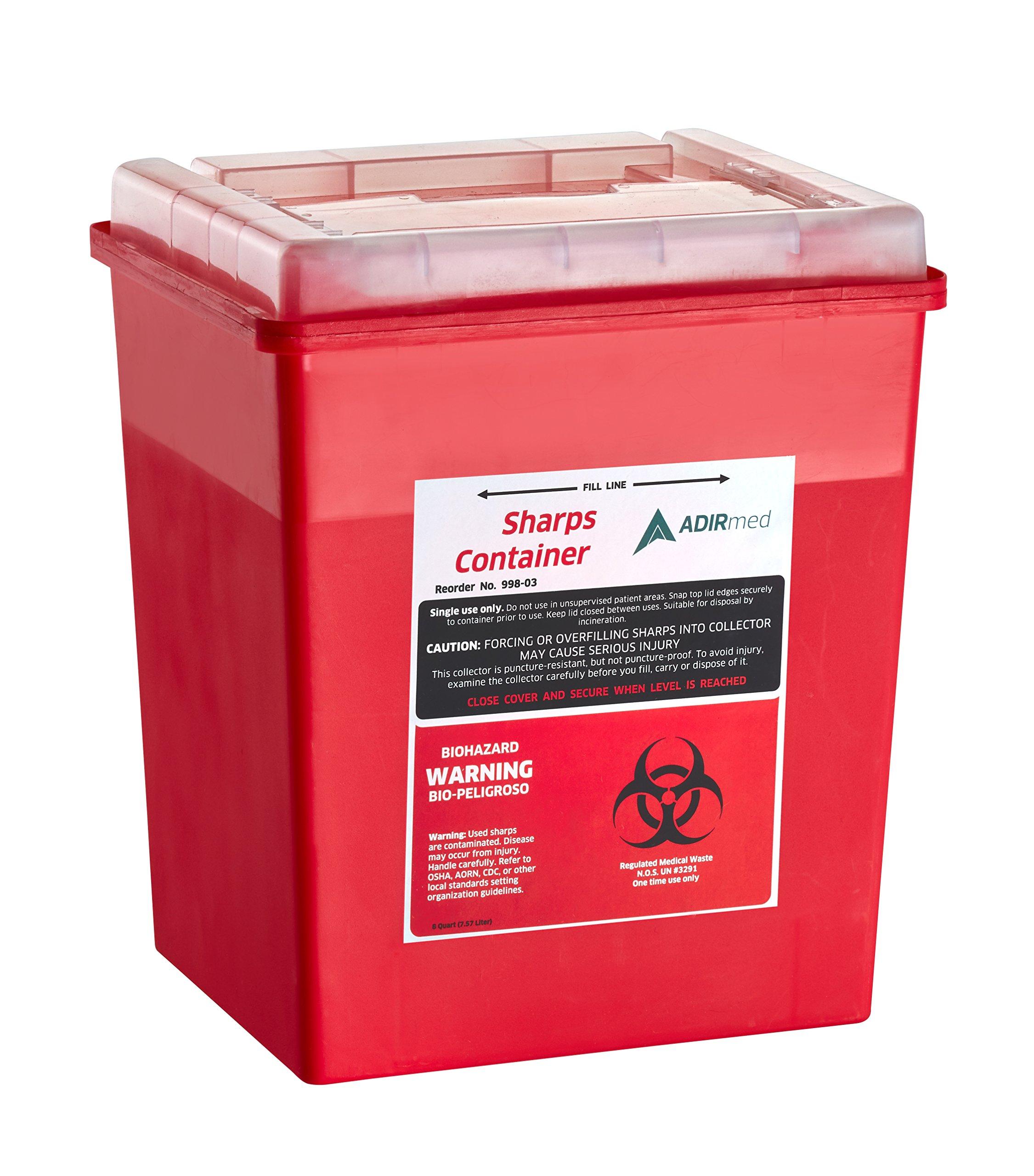 AdirMed Sharps & Needle Biohazard Disposal Container - 8 Quart - Flip-Open Lid - 1 Pack
