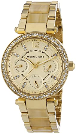ea8c78538b54 Image Unavailable. Image not available for. Color  Michael Kors Mini Parker  Crystal Bezel Ladies Watch MK5842