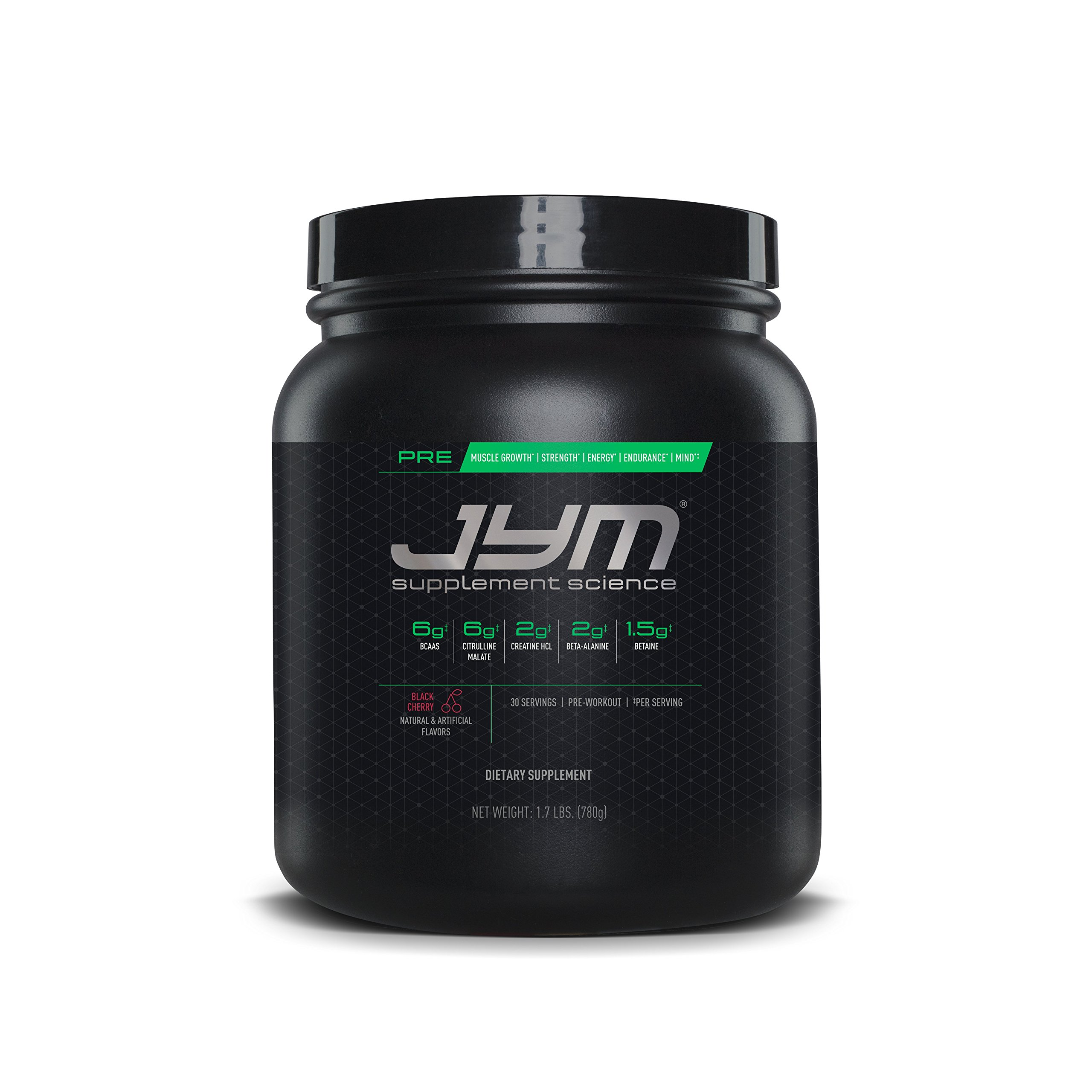 JYM Supplement Science, PRE JYM, Black Cherry, Pre-Workout with BCAA's, Creatine HCl, Citrulline Malate, Beta-alanine, Betaine, Alpha-GPC, Beet Root Extract and more, 30 Servings