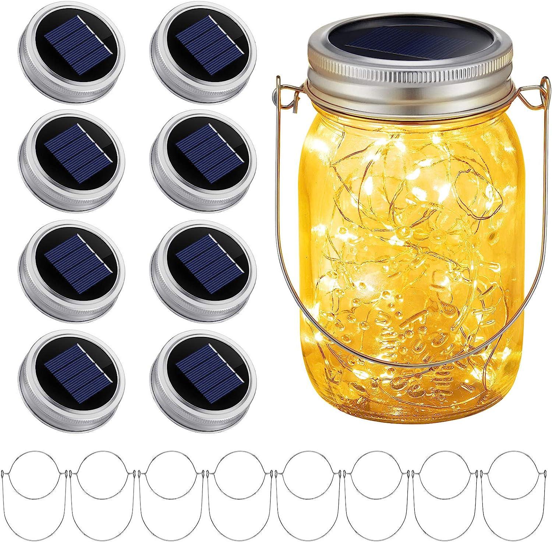 Solar Mason Jar Lights Lids: 30 LED 9.8 Ft Solar Fairy Lights String Outdoor Hanging Lights for Garden Yard Patio Backyard Porch Decor, Warm White, 8 Pack (Jars Not Included)