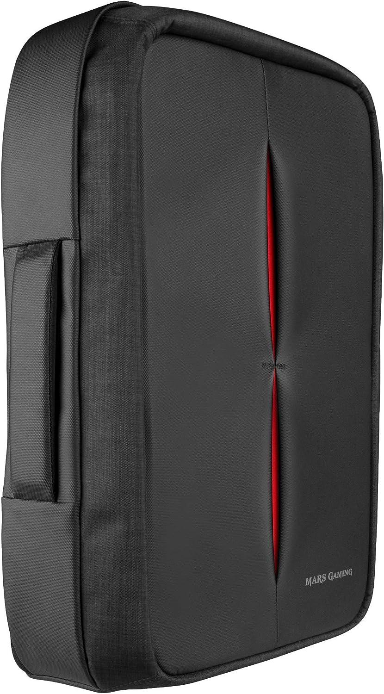 Mars Gaming MB2 - Mochila-Maletín Gaming (Impermeable, candado TSA, hasta 17,3 Pulgadas, Puerto Externo USB, Anti robos, asa de Aluminio) Color Negro y Rojo