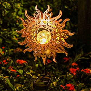 Solar Lights Outdoor Garden Decor,Waterproof Metal Sun Decorative Stakes for Walkway,Yard,Lawn,Patio