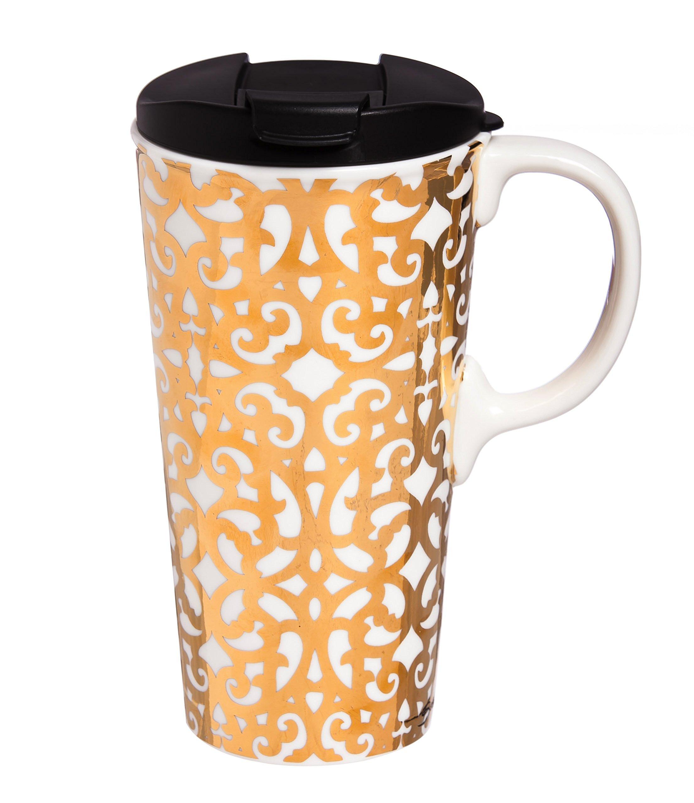 Cypress Home Celestial Holiday Ceramic Travel Coffee Mug, 17 ounces