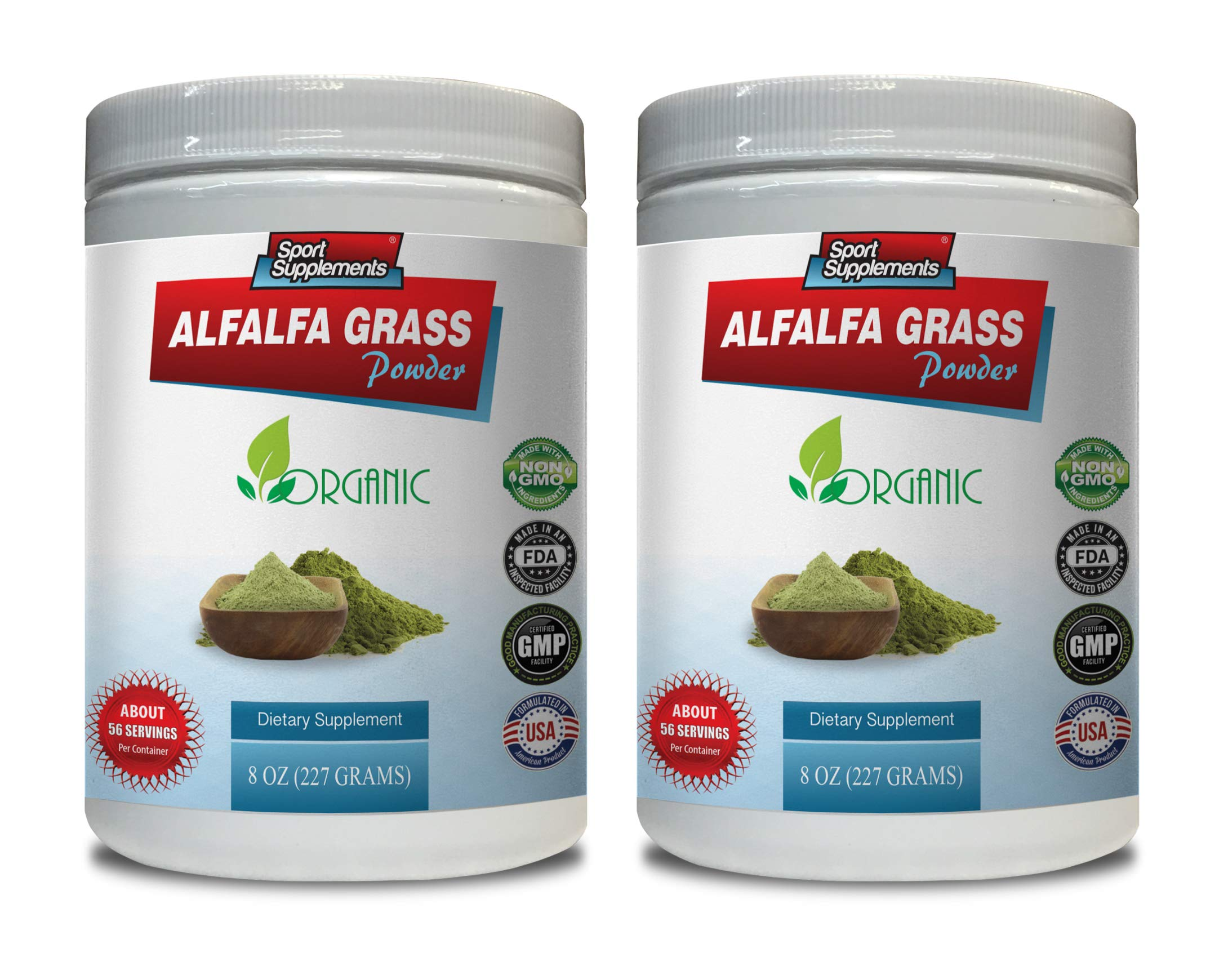 Blood Pressure Supplement Natural - Alfalfa Grass Powder - Organic Dietary Supplement - Alfalfa Leaf Vitamins - 2 Cans 16 OZ (112 Servings)