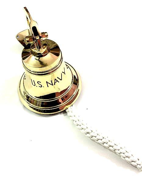 Solid Brass Wall Hanging Ship Bell~Nautical Brass Anchor Door Bell Home Decor