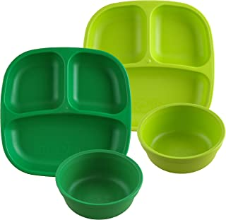 product image for Re-Play Made in USA 4pk Starter Dining Set of 2 Divided Plates with 2 Matching Bowls in Kelly and Lime Green. Made from Eco Friendly Heavyweight Recycled Milk Jugs - Virtually Indestructible!