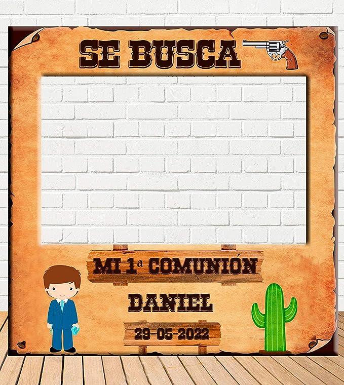 Photocall de Comunión Niño del Oeste 100x100cm | Detalles Comunión | Photocall Económico y Original | Disfruta de unas divertidas fotos con nuestro ...