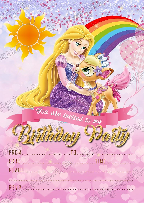 Invitaciones de fiesta de cumpleaños de princesa Disney Rapunzel, 8 tarjetas + sobres gratis design buddies