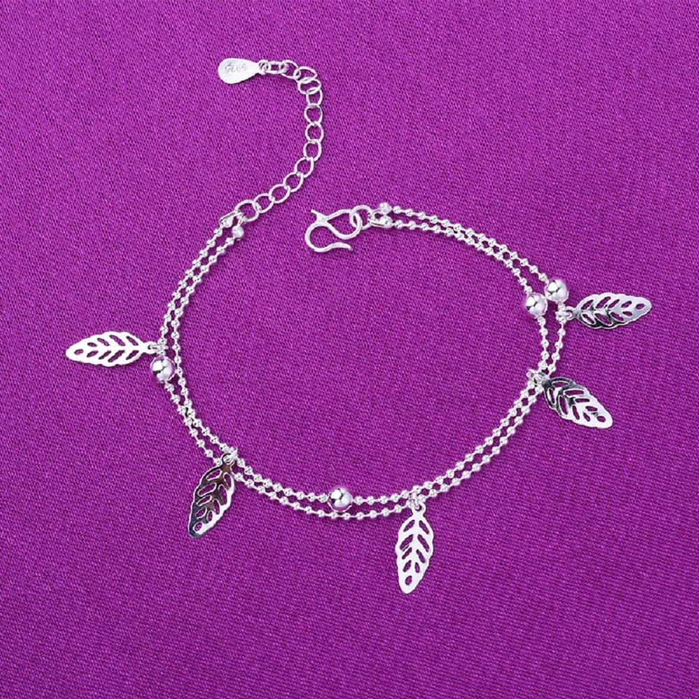 Cdet Couche 2 Feuille darbre et Perles Bracelet de Cheville Pied Femme Plage Accessoire Bijoux Plage Pieds