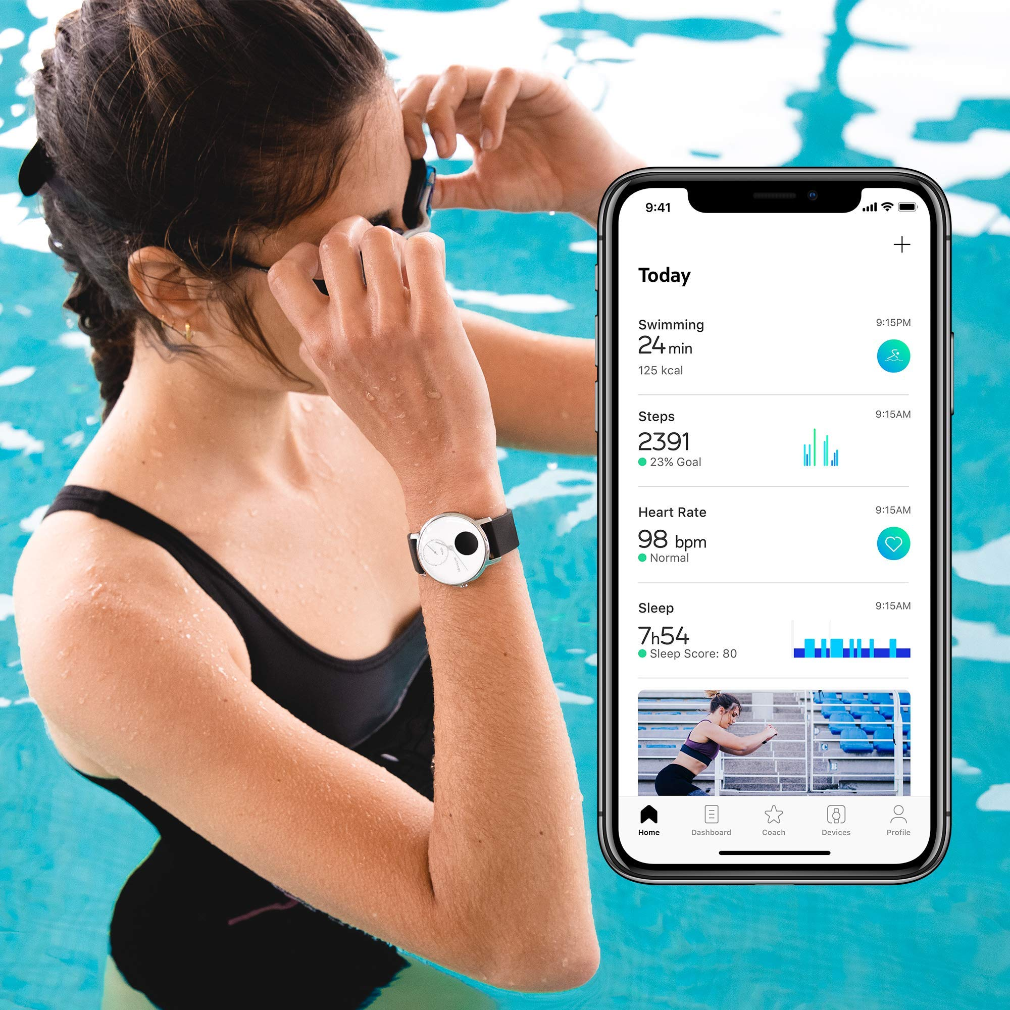 Withings / Nokia | Steel HR Hybrid Smartwatch - Activity Tracker with Connected GPS, Heart Rate Monitor, Sleep Monitor, Water Resistant Smart Watch with 25-day battery life (Renewed) by Withings (Image #6)