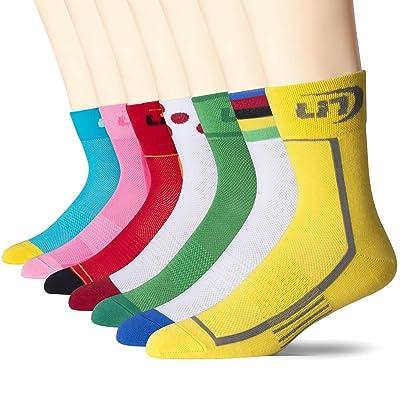 .com : Lin 7 Pack Cycling Socks for Men and Women Funny Color Biking Socks Performance Athletic Crew Socks : Clothing