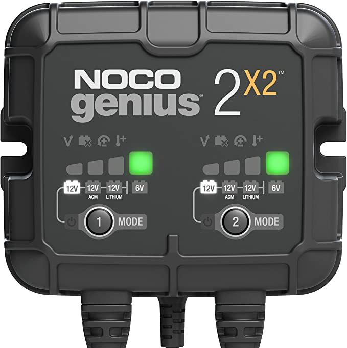 Amazon.com: NOCO GENIUS2X2, 2-Bank, 4-Amp (2-Amp Per Bank) Fully-Automatic Smart Charger, 6V and 12V Battery Charger, Battery Maintainer, and Battery Desulfator with Temperature Compensation: Automotive