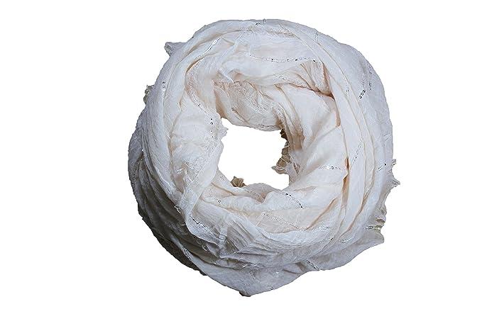 44d34ee5c12 FERETI Grand foulard Beige à sequins paillettes broderies et franges argent  Echarpe  Amazon.fr  Bagages