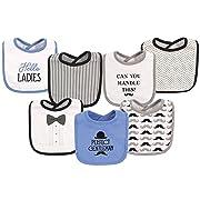 Hudson Baby Baby Cotton Drooler Bibs, 7 Pack, Gentleman One Size