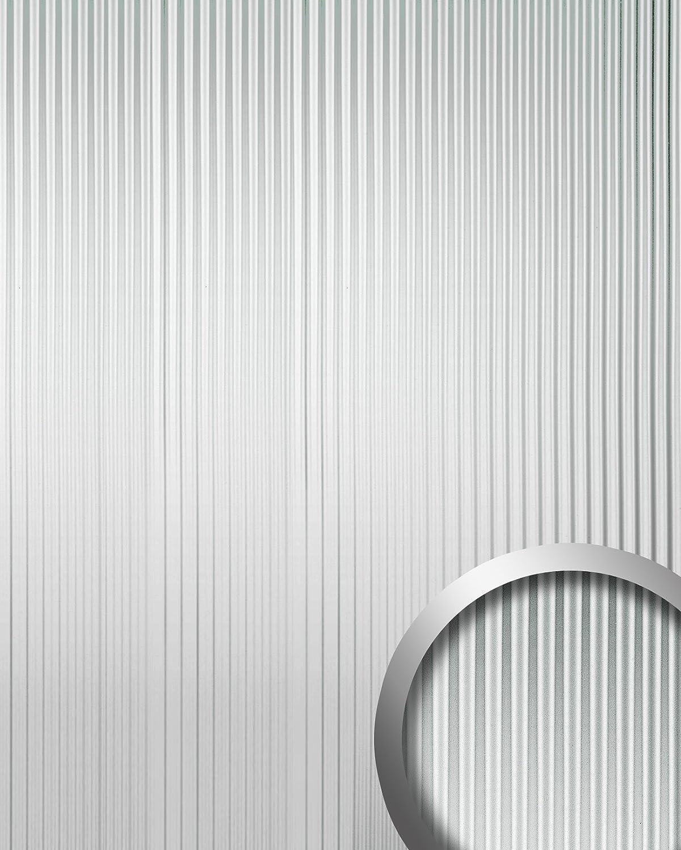 Revestimiento mural autoadhesivo con ranuras verticales M WallFace 11360 WAVE plata brillante efecto lacado 2,60 m2: Amazon.es: Bricolaje y herramientas