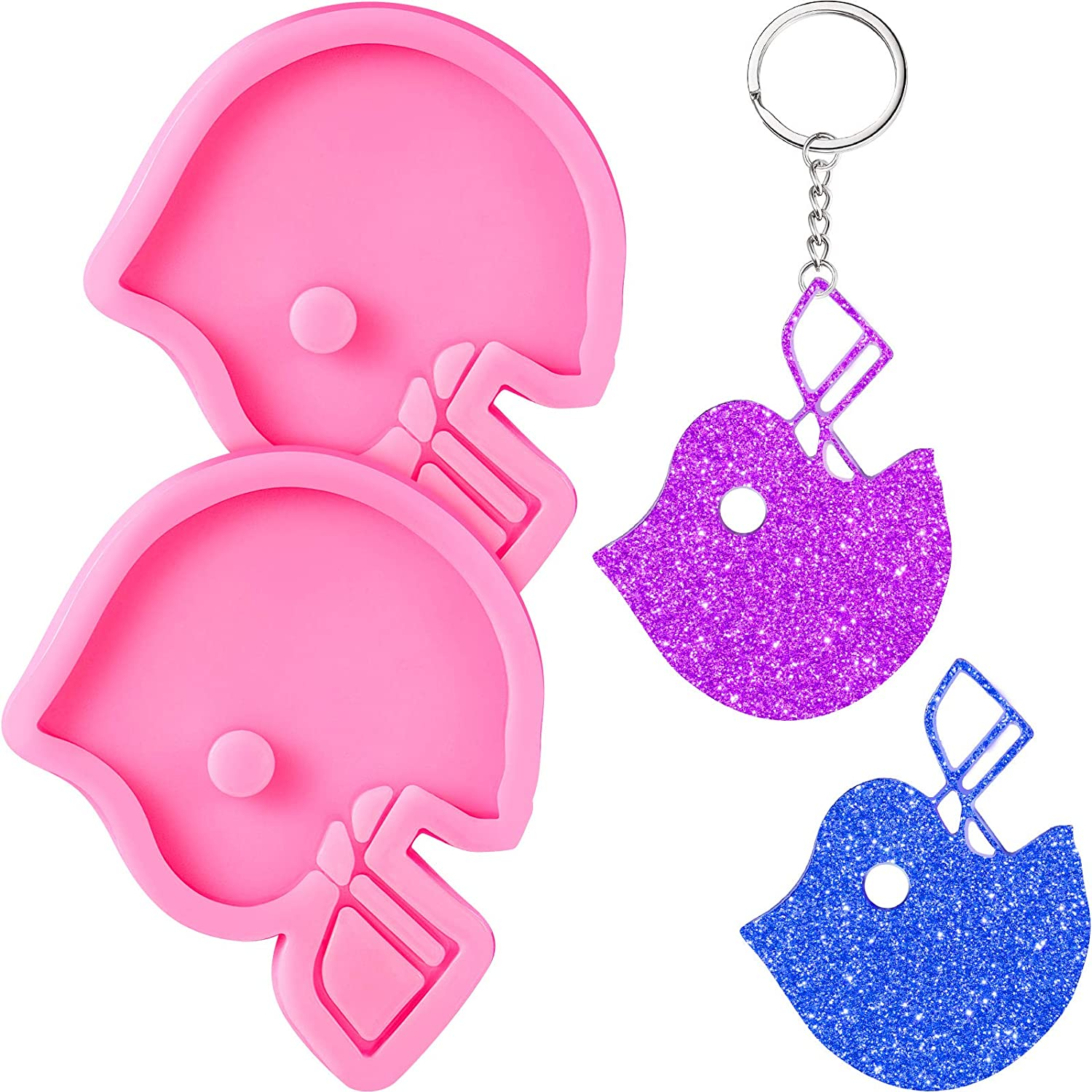 2 Pieces Football Helmets Keychains Silicone Molds Football Helmets Shaped Keychain Molds Chocolate Candy Molds Fondant Cake Molds and 20 Pieces Keyrings with Chain for DIY Baking Crafting Cake