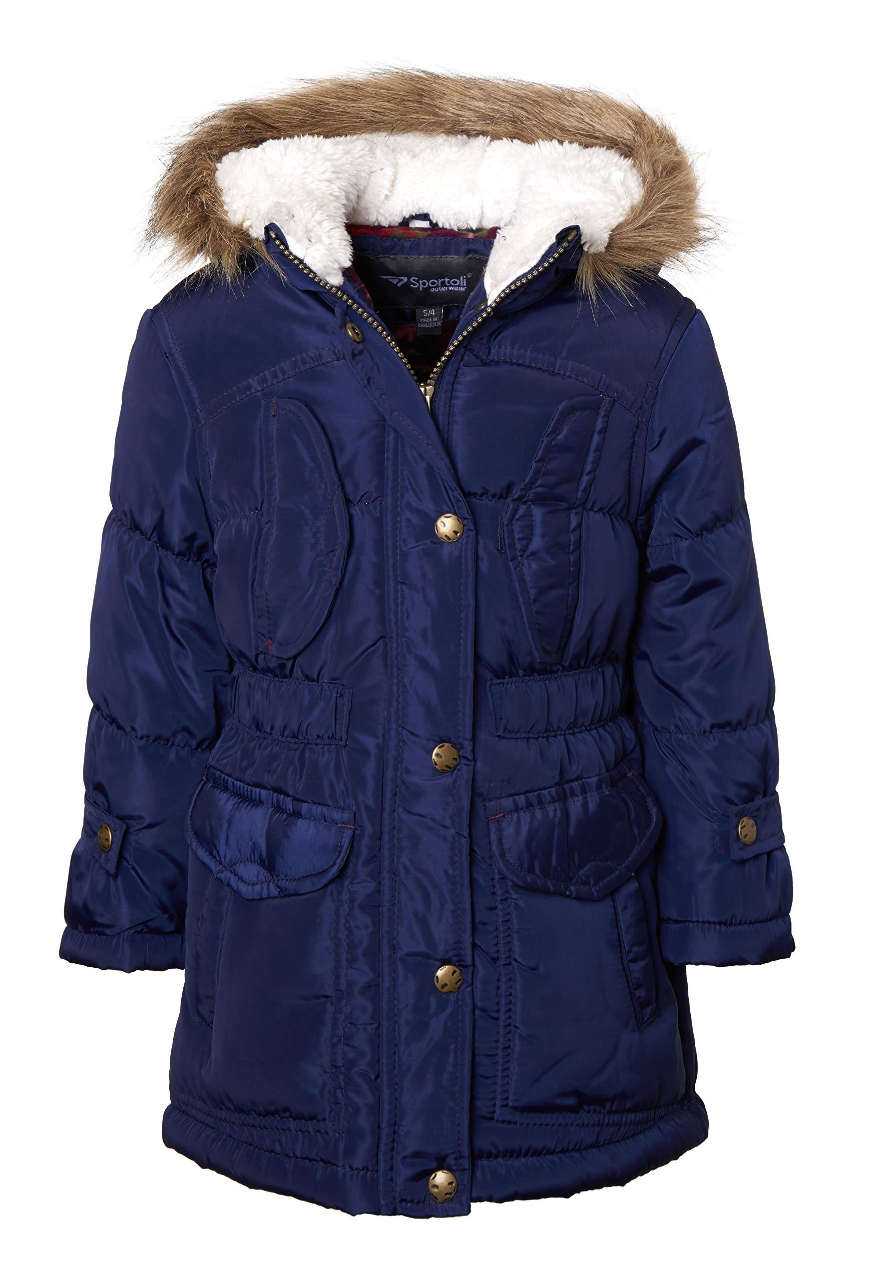 849b0263e4838 Sportoli Girls Fashion Winter Puffer Jacket Coat with Sherpa Lined Fur Trim  Hood product image