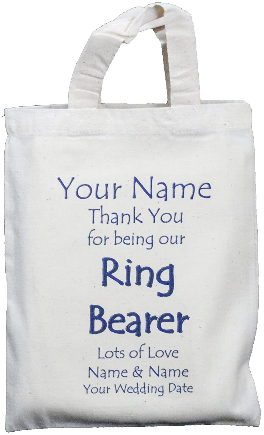 0718467e8b68b Personalised - RING BEARER - Small Natural Cotton Wedding Favour / Gift Bag