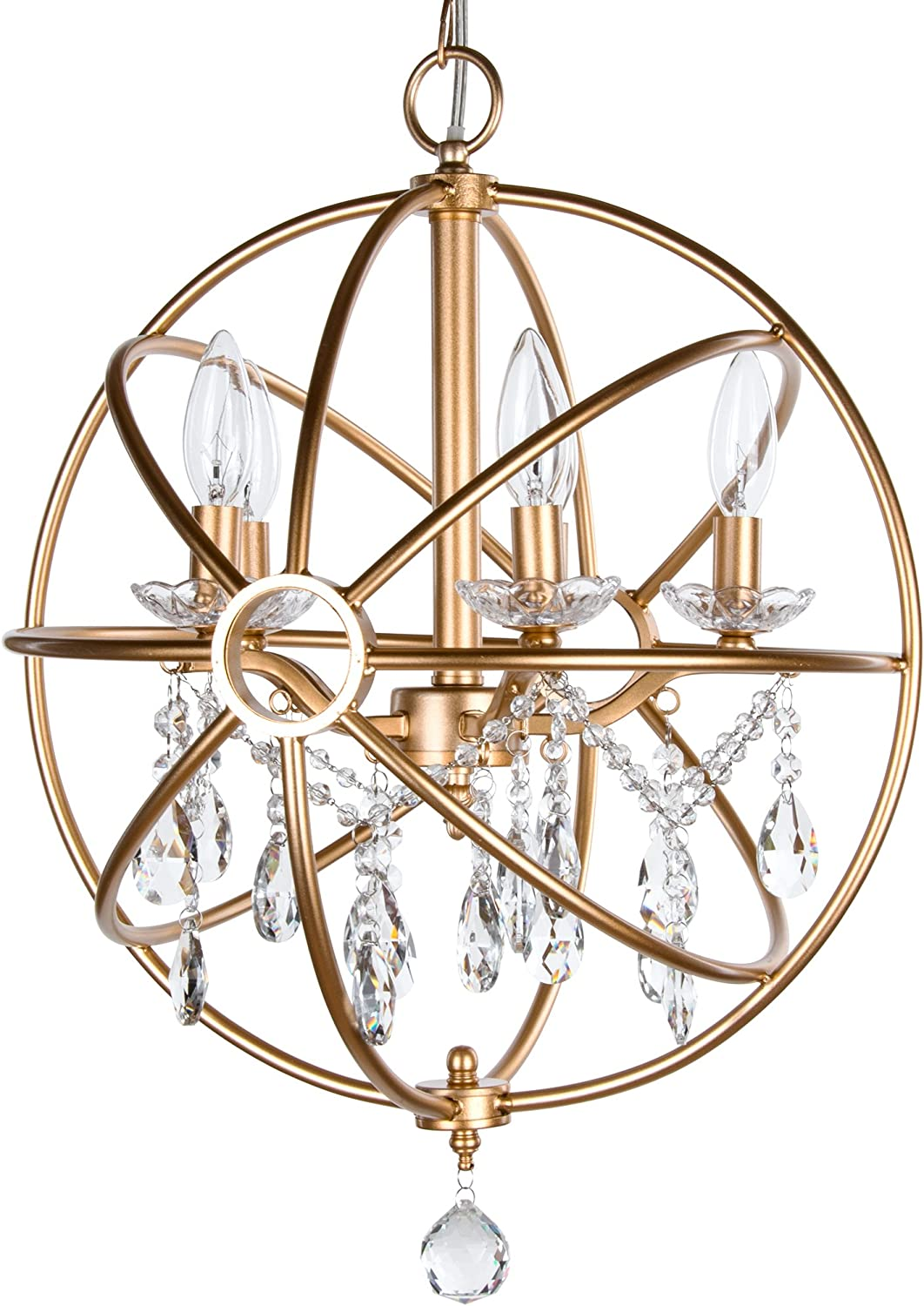 Amalfi Decor 5 Light Orb Crystal Beaded Chandelier, LED Cage Wrought Iron K9 Glass Pendant Light Fixture Contemporary Nursery Kids Room Dimmable Plug in Hanging Ceiling Lamp, Gold
