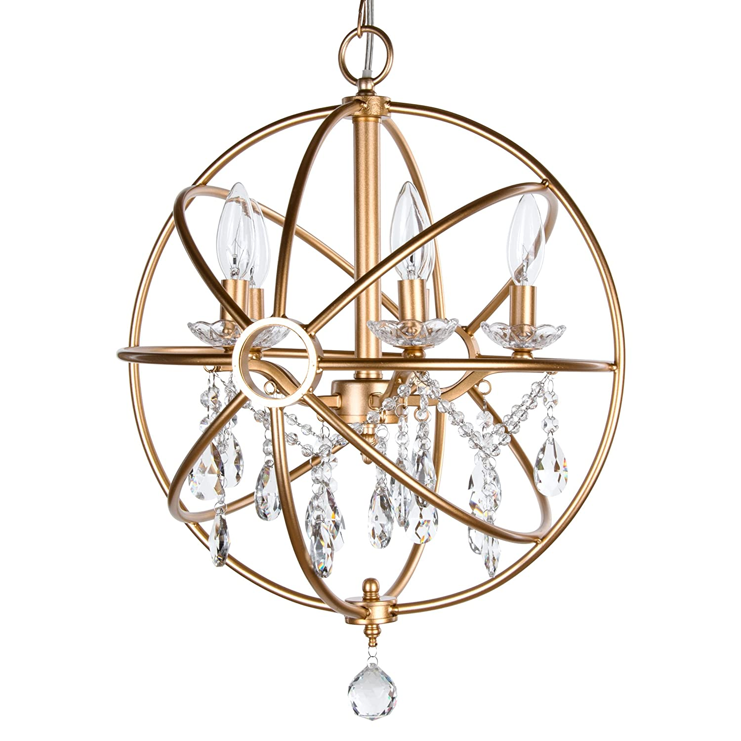 Luna Collection Modern Orb Crystal Swag Chandelier With 5 Lights, Sphere Glass Pendant Ceiling Lighting Fixture (Gold)