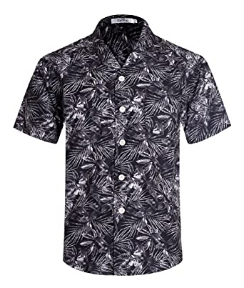 7bd384db Men's Hawaiian Shirt Short Sleeve Aloha Shirt Beach Party Flower Shirt  Holiday Print Casual Shirts Black