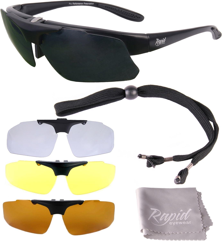 Rapid Eyewear 'Pro Performance Plus' Gafas DE Sol Deportivas con RX Clip Optico Cristales Intercambiables. Polarizadas. para Hombre y Mujer