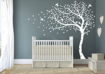 Design Divils Premium Large Sweeping Autumn Tree With Leaves And Birds.  Quality Vinyl Matte Wall