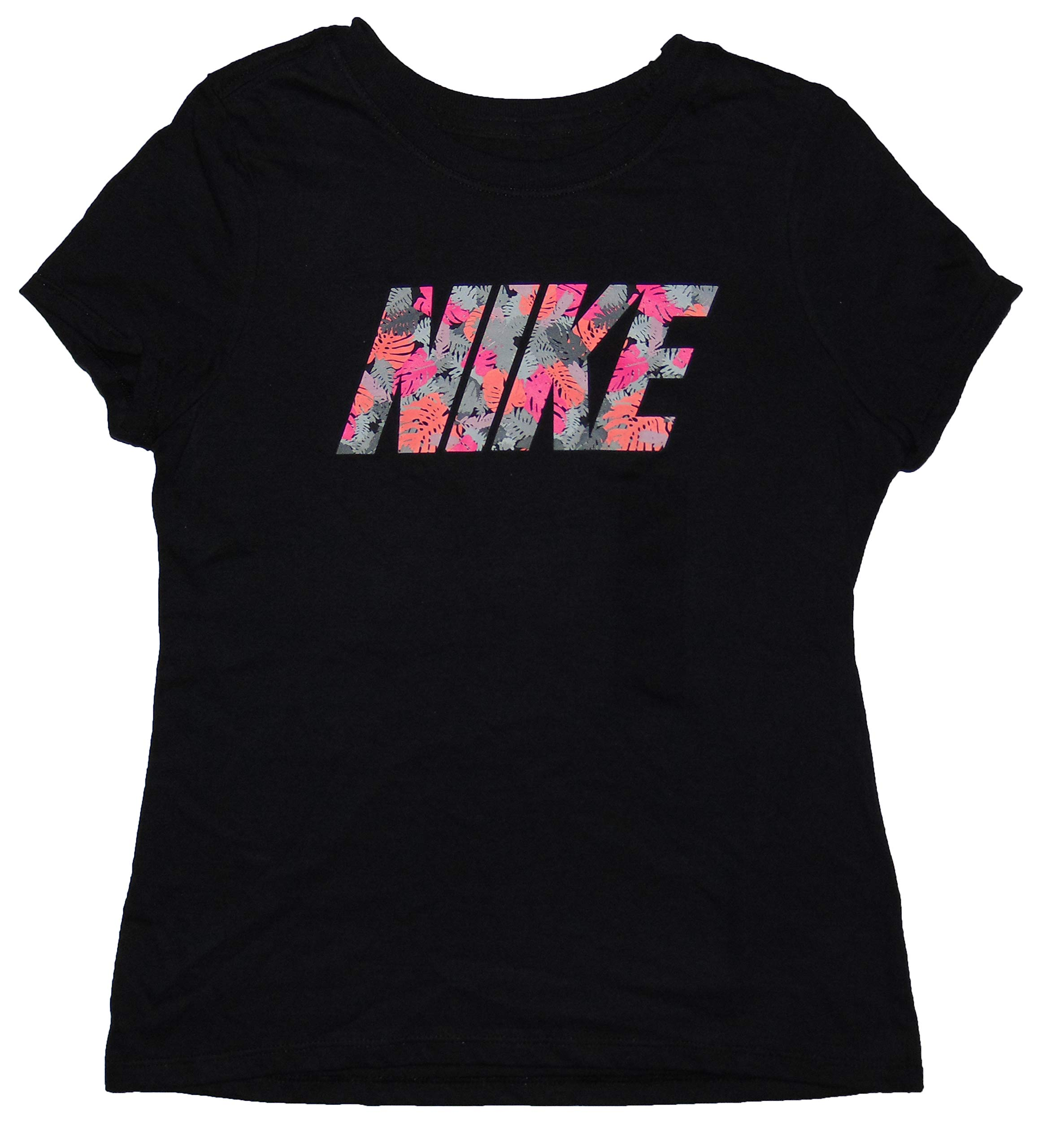 NIKE Girl's Graphic Tee Shirt Athletic Cut Medium Cotton Black by NIKE (Image #1)