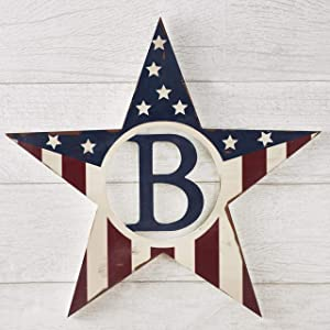 The Lakeside Collection Americana Monogram Patriotic Hanging Wall Star - Outdoor Home Decor - B