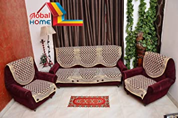 Global Home Brand New Sofa Covers Set Of 5 And Chair Cover Set - Maroon Gold