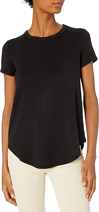 Daily Ritual Amazon Brand Women's Supersoft Terry Short-Sleeve Shirt with Shirttail Hem
