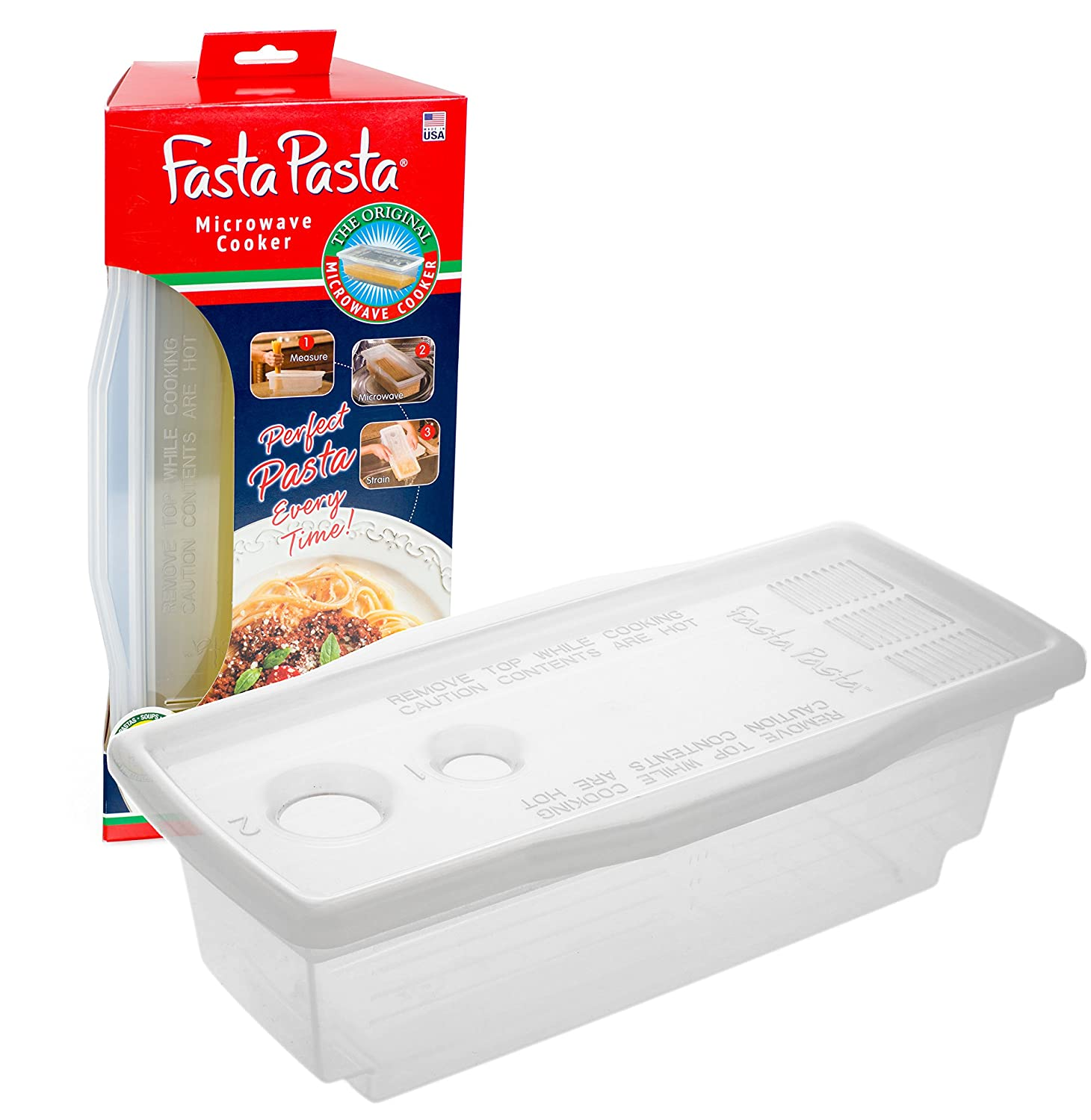 Fasta Pasta Microwave Pasta Cooker - The Original No Mess, Sticking or Waiting For Boil