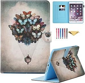 iPad Mini Case, Mini 4 Mini 2/3 Case Cover, MonsDirect Smart Kickstand PU Leather Case Flip Wallet Protective Cover Compatible with Apple iPad Mini 1 2 3 4, Butterfly Balloon