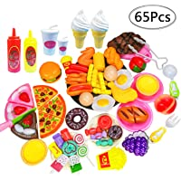 65 PCS Play Food Toys,Pretend Play Kitchen Pizza Food Cutting Sets Children Gift-Early Development Learning Toy Gifts