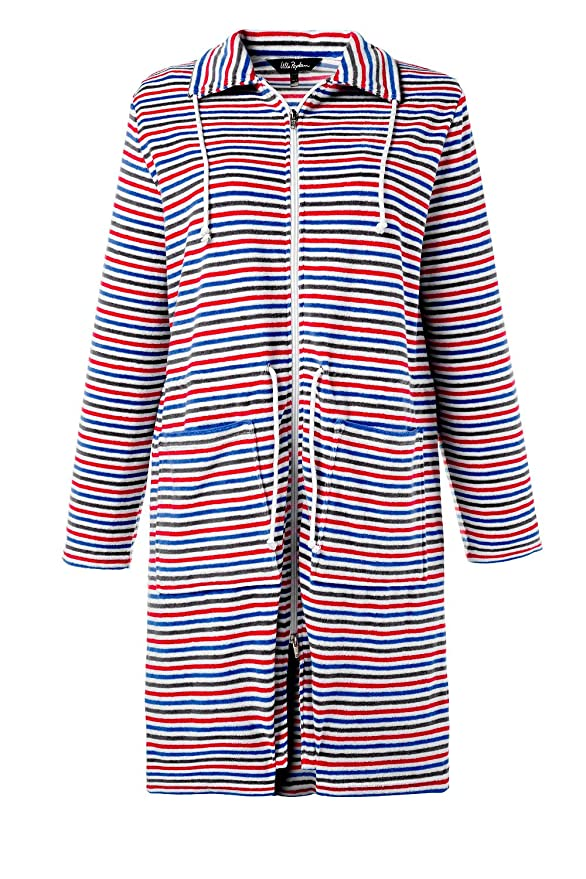 Ulla Popken Women\'s Plus Size Zip up Striped Bathrobe 711663 at ...