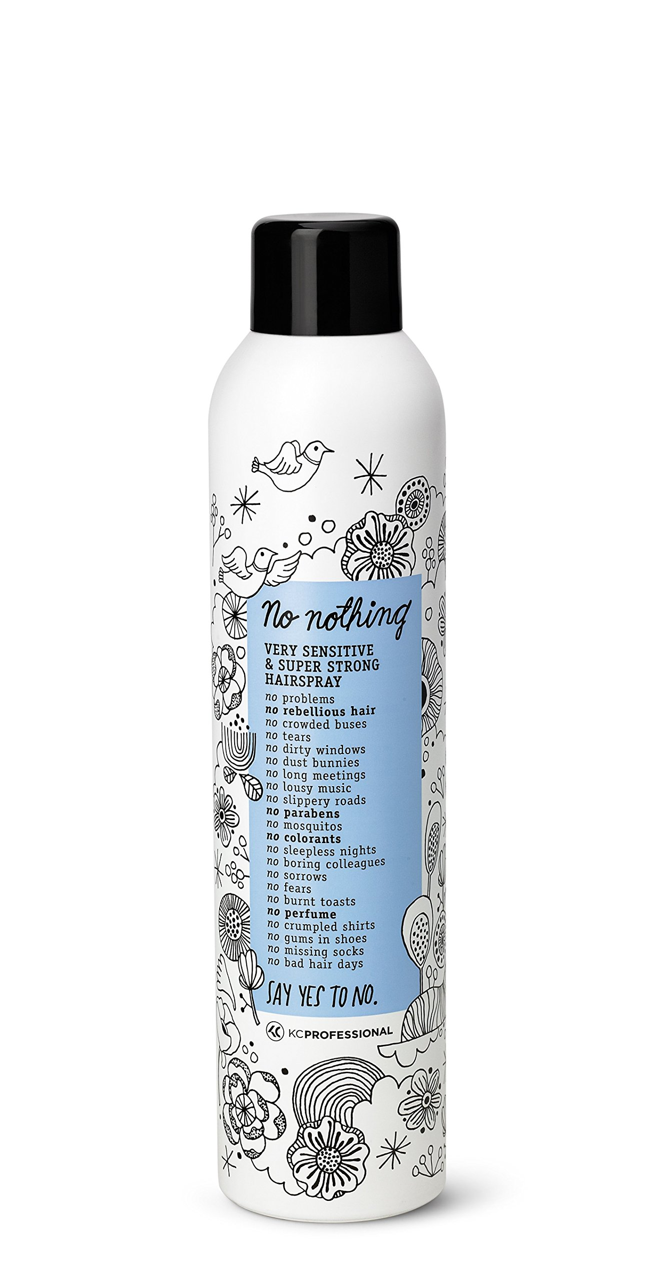 No nothing Very Sensitive Super Strong Hairspray - Fragrance Free Extra Strong Styling and Finishing Spray