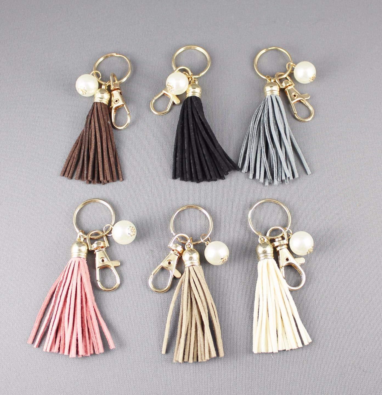 Faux Suede keychain tassels beaded Key Ring Chain tassel purse bag handbag charm