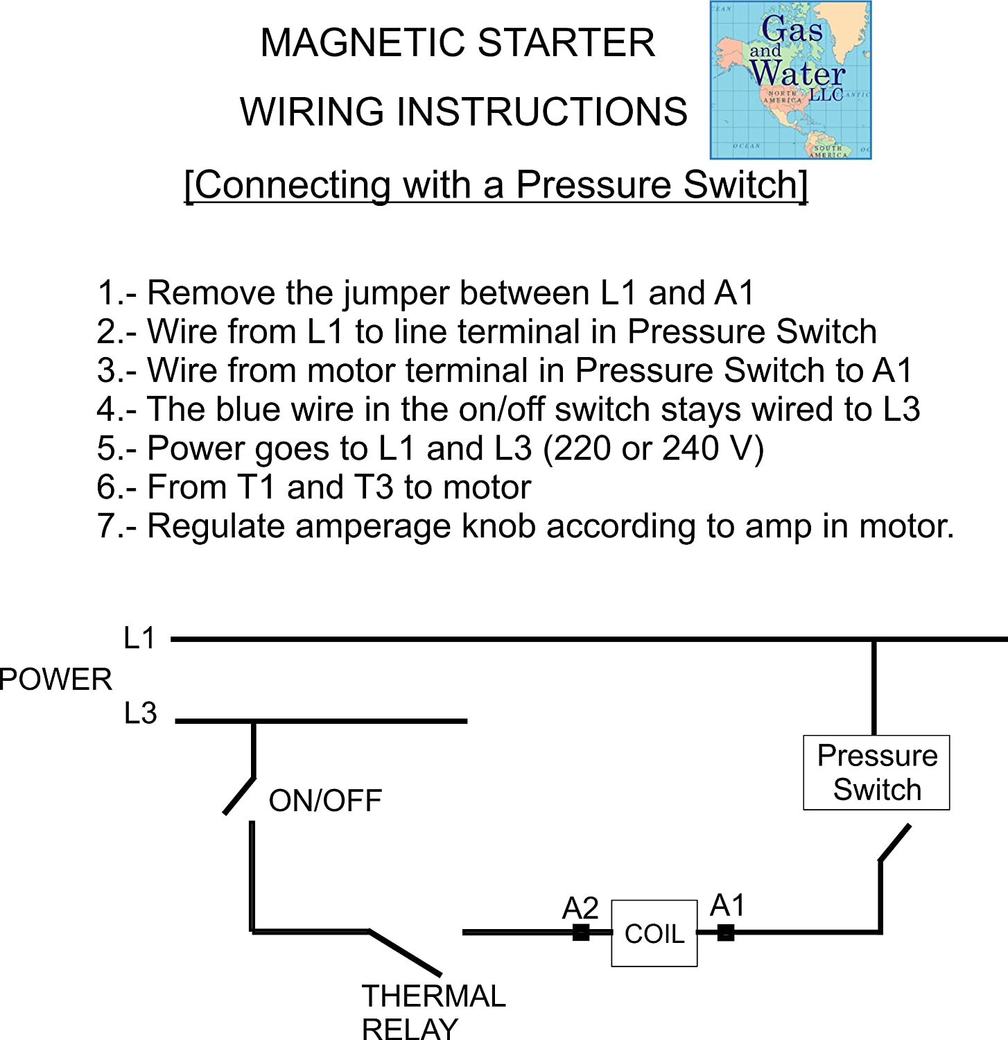 Magnetic Electric Motor Starter Control 5 Hp Single Phase 220 240v Well 3 Wiring Diagram On 1 22 34a With Off Switch Box Protection