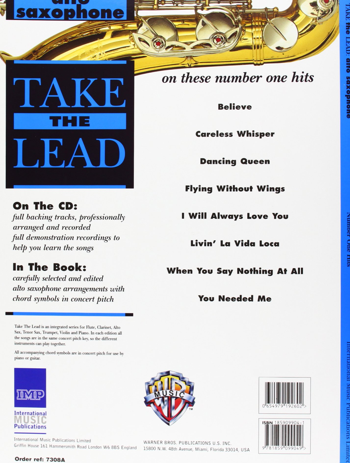 Amazon Take The Lead Number One Hits Alto Saxophone Book Cd