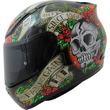 MT Revenge Skull & Roses - Casco de Moto, Negro y Rojo, Medium